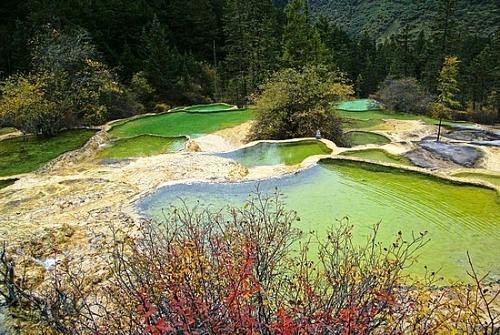Hồ ngũ sắc và gấu trúc Tứ Xuyên