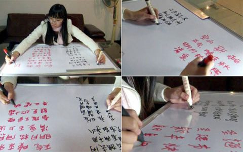 TQ: Cô gái viết hai tay hai ngôn ngữ cùng lúc - Hình 1