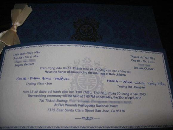 Lộ thiệp cưới của anh Bo Đan Trường
