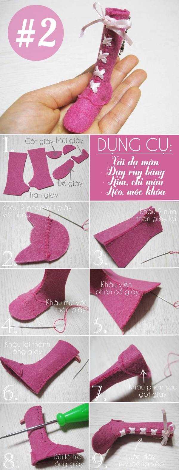 3 cách làm móc khóa hình chiếc giày đáng yêu
