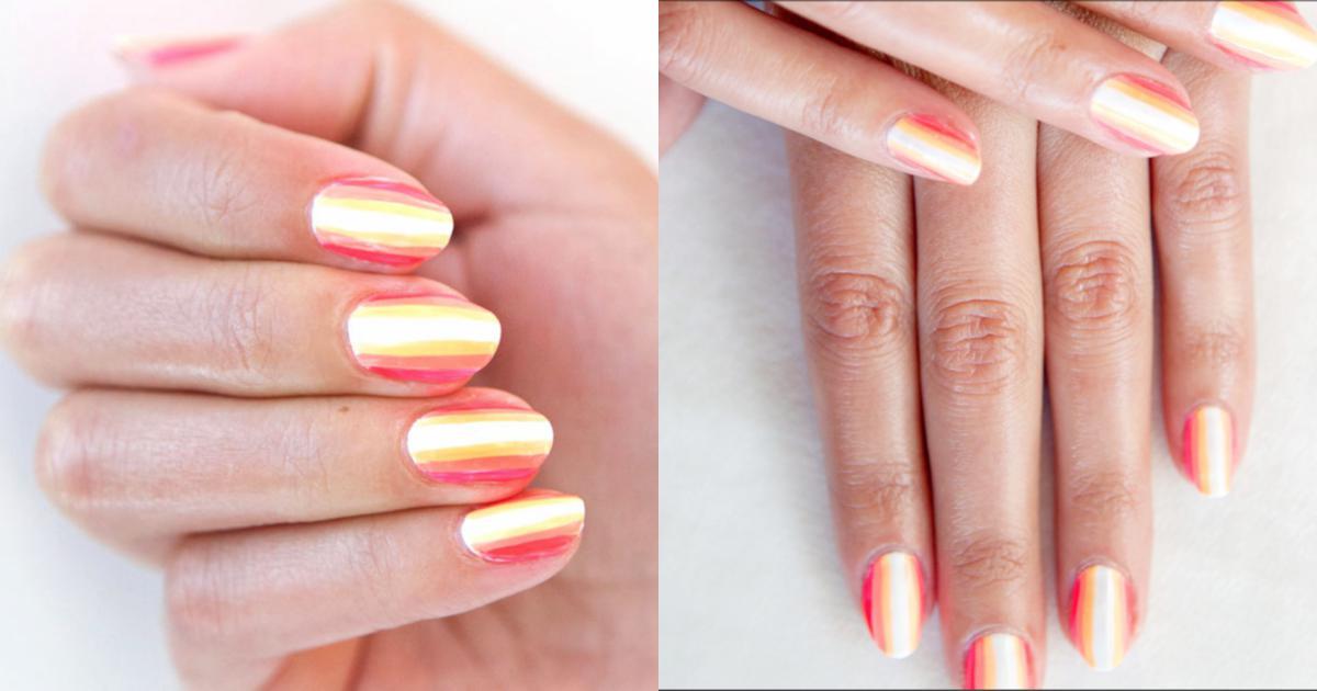 Cách tự sơn móng tay kẻ sọc màu neon tại nhà