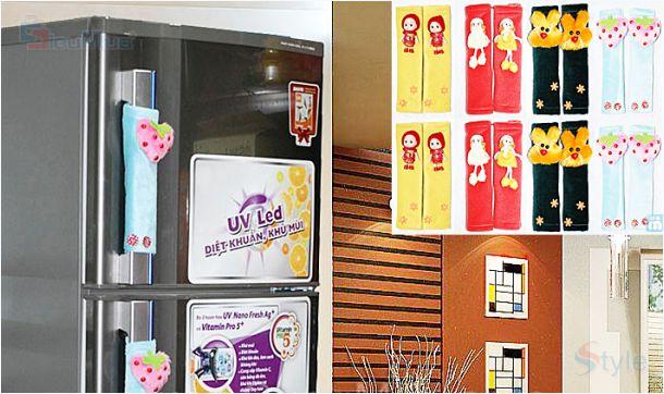 Combo Bao phủ tủ lạnh   Tay cầm tủ lạnh   Dao gấp tiện dụng - Hình 1