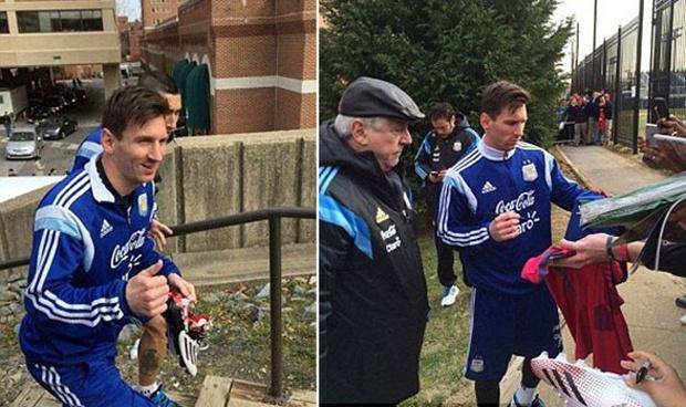 Lionel Messi hào hứng ký tặng fan - Hình 1