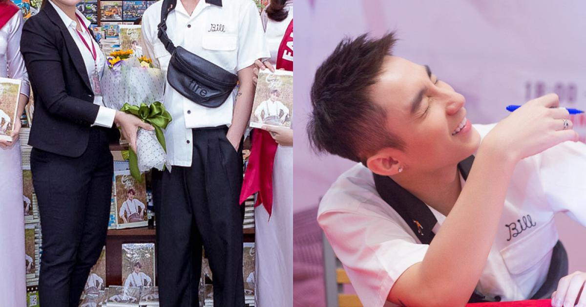 Sơn Tùng diện style như 'cậu nhóc' cấp 3 nghịch ngợm giao lưu với fan