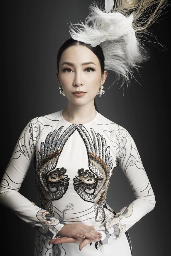Linh Nga diện áo dài họa tiết chim phượng hoàng