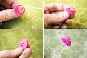 Cách làm bông hoa xinh xắn bằng khuy hình