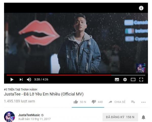 Bị đổ vấy nghi án đạo nhạc, MV trở lại của Justatee vẫn cán mốc triệu view và leo thẳng lên top 5 trending YouTube