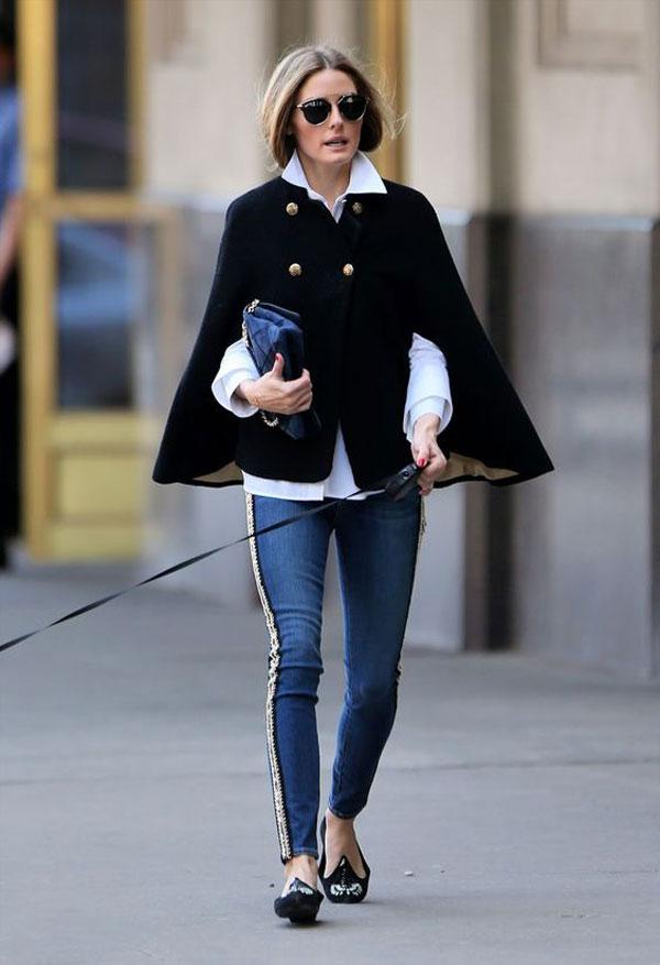 Mix áo cape đẹp đúng điệu như tiểu thư thời trang Olivia Palermo