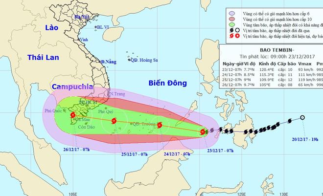 2 kịch bản sau khi bão Tembin vào Biển Đông