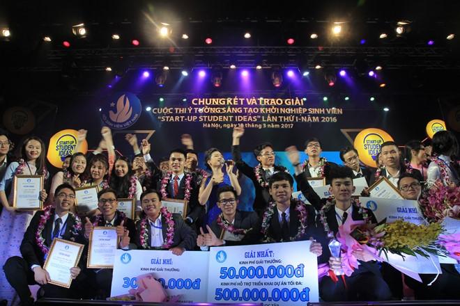 Giành giải nhất cuộc thi khởi nghiệp, ba sinh viên nhận 550 triệu đồng