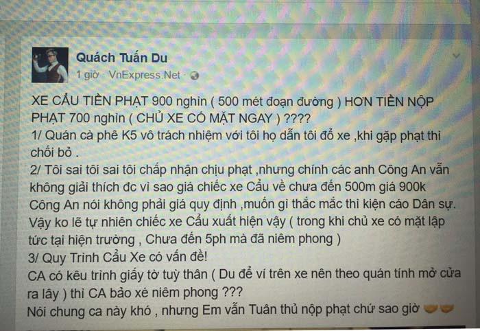 Quách Tuấn Du thắc mắc tiền cẩu xe chưa đến 500m giá 900.000 đồng?