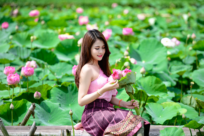 Thiếu nữ Lào khoe dáng ngọc bên sen đầu hạ
