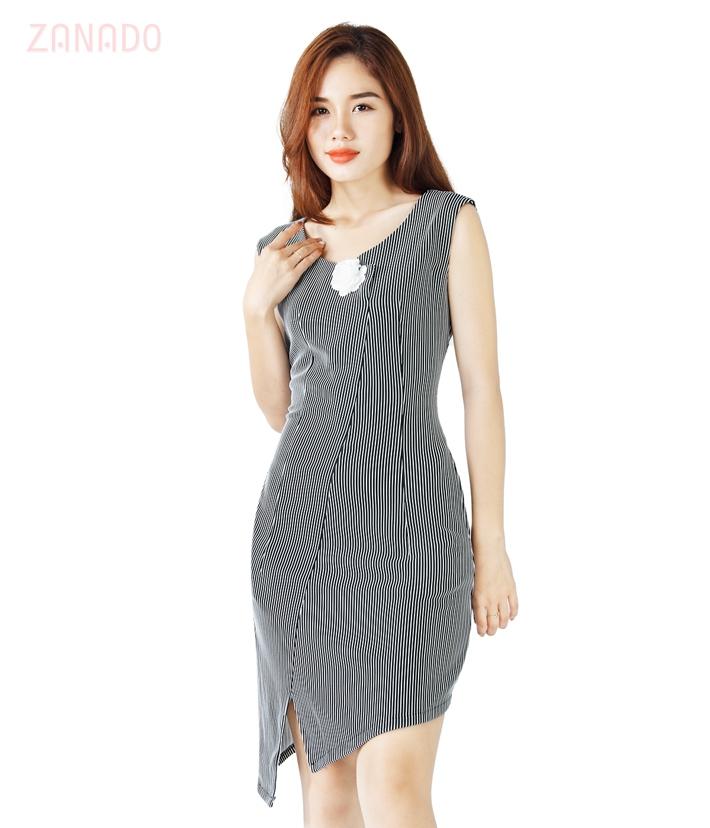 Đầm body sọc vạt chéo cách điệu SID64748