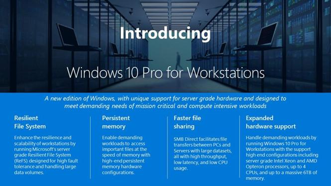 Microsoft giới thiệu Windows 10 Pro dành cho máy trạm