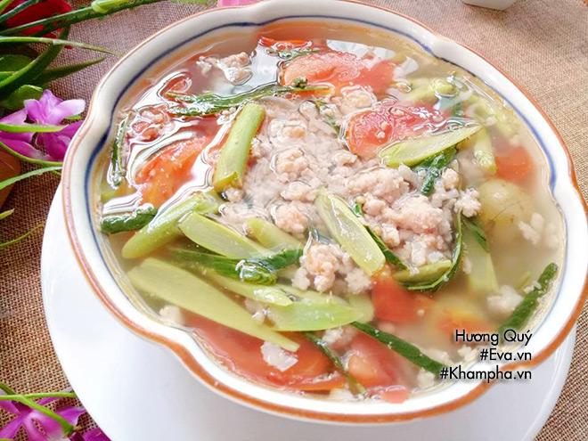 [Chế biến] - Canh sấu thịt băm rau rút đơn giản mà đưa cơm