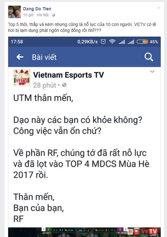 VETV gửi lời xin lỗi đến đội tuyển Liên Minh Huyền Thoại UTM sau phát ngôn gây bão