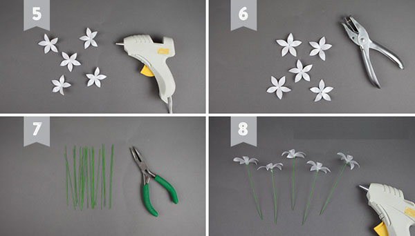 Làm hoa nhài bằng giấy trang trí góc nhà thêm tinh tế