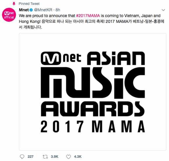 Báo Hàn tiết lộ lý do MAMA 2017 được tổ chức ở Việt Nam