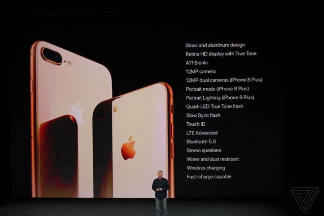 iPhone 8 và 8 Plus ra mắt: Mặt lưng kính, camera hoàn toàn mới