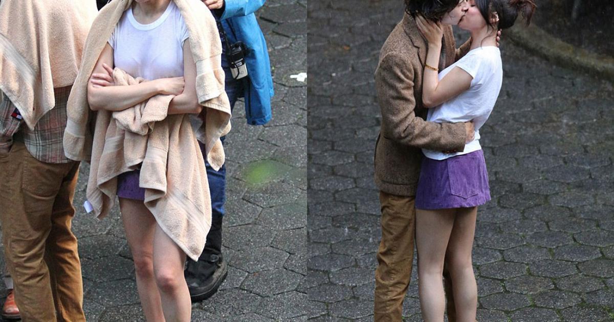 Selena Gomez dầm mưa đóng cảnh hôn trong công viên