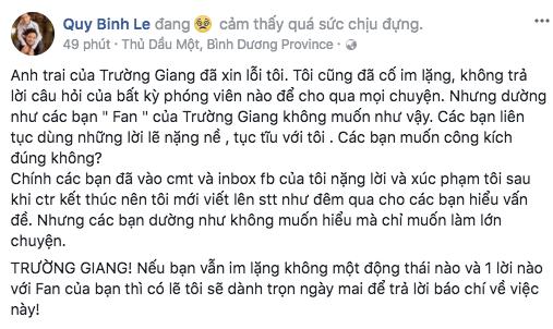 Quý Bình dọa nói hết sự thật nếu Trường Giang tiếp tục im lặng
