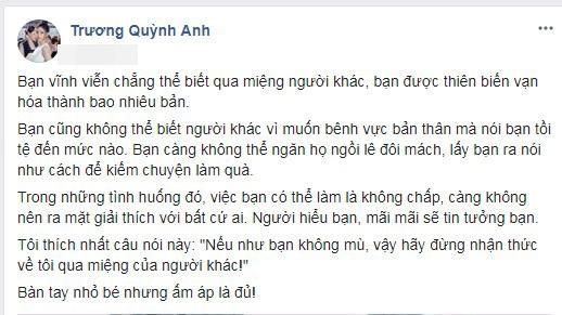 Trương Quỳnh Anh tiết lộ lý do không muốn giải thích về scandal với Bình Minh