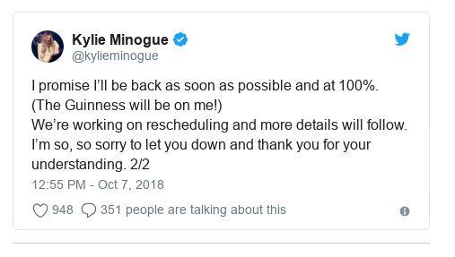 Kylie hủy bỏ buổi hòa nhạc Belfast do bệnh - Hình 2