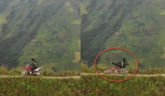 Clip phượt thủ té xe máy xuống đỉnh Tà Xùa cao 2.650m - Hình 1