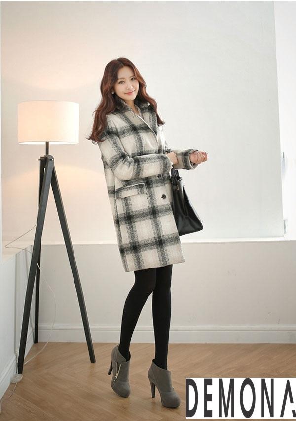 Áo khoác dạ nữ kẻ sọc đẹp công sở không lạnh thu đông - Hình 10