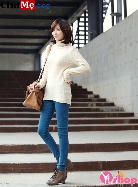 Áo len nữ cổ lọ đẹp phong cách Hàn Quốc dịu dàng đông - Hình 12