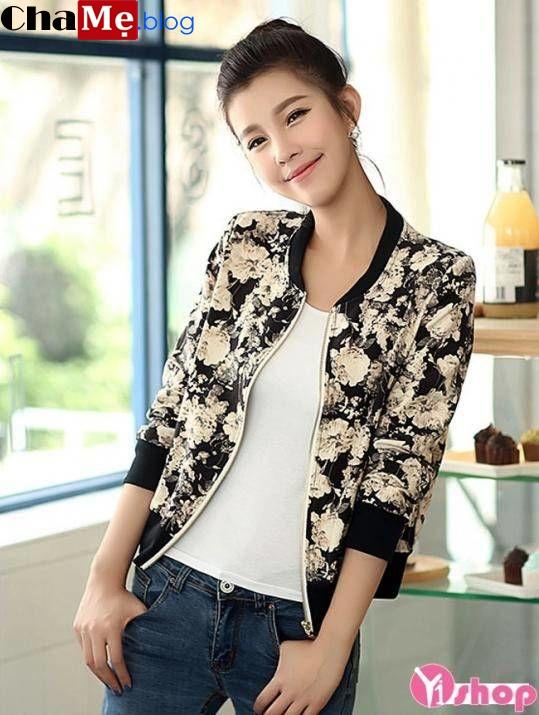 Diện áo khoác nữ họa tiết đẹp kiểu hàn quốc không lạnh thu đông - Hình 13