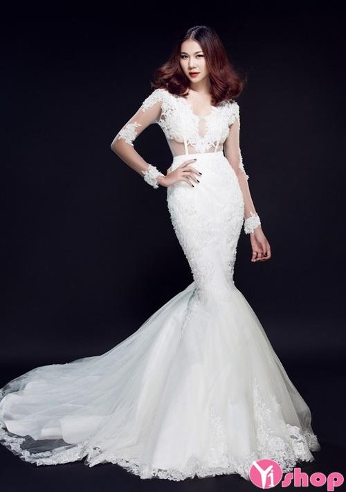 Váy đầm cưới xuyên thấu đẹp được cô dâu ưa chuộng - Hình 1