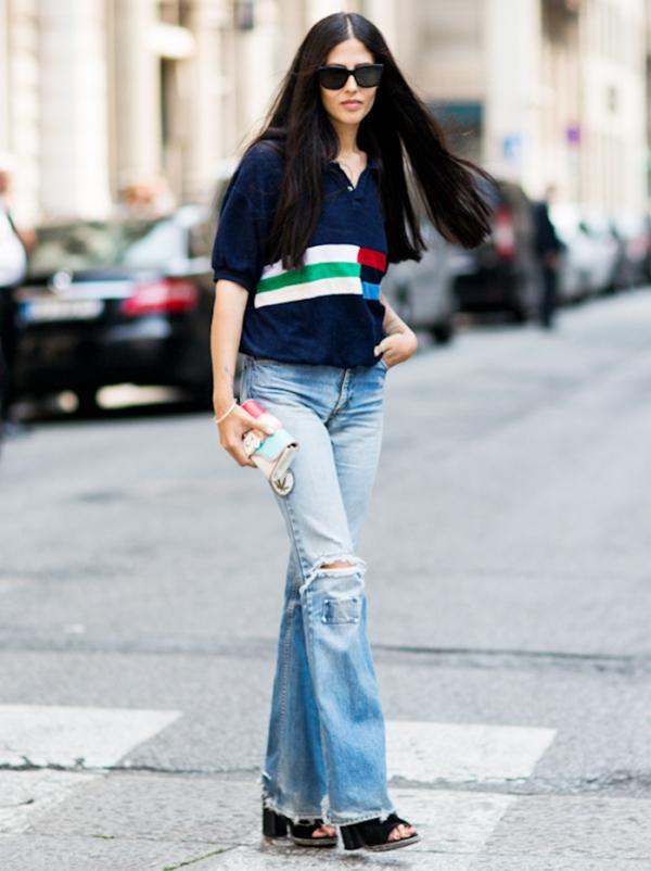 4 phong cách với quần jeans ống loe - Hình 2