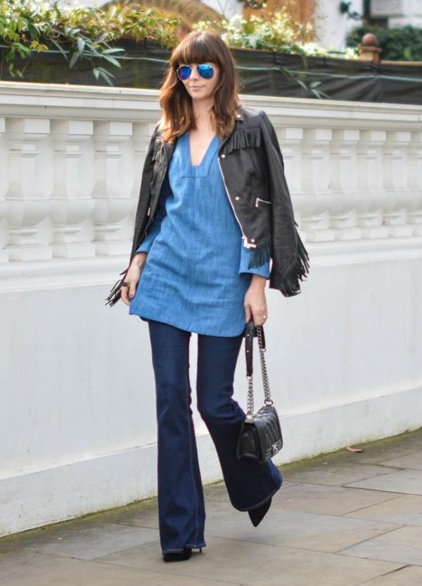 4 phong cách với quần jeans ống loe - Hình 7