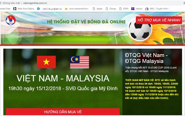 Xuất hiện 2 trang web mua vé bóng đá online giả mạo - Hình 2