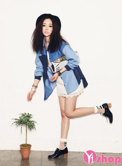 Áo sơ mi nữ denim Hàn Quốc đẹp trẻ trung phong cách - Hình 12