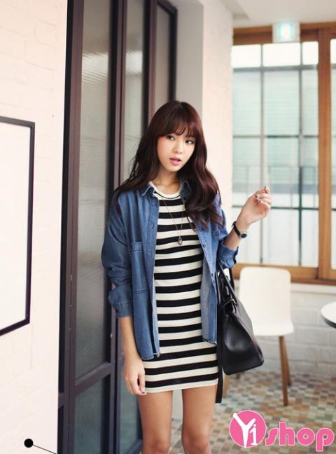 Áo sơ mi nữ denim Hàn Quốc đẹp trẻ trung phong cách - Hình 19