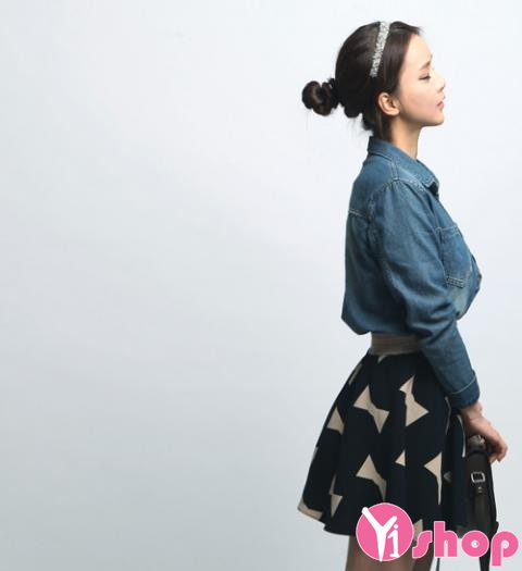Áo sơ mi nữ denim Hàn Quốc đẹp trẻ trung phong cách - Hình 10