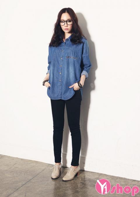 Áo sơ mi nữ denim Hàn Quốc đẹp trẻ trung phong cách - Hình 5