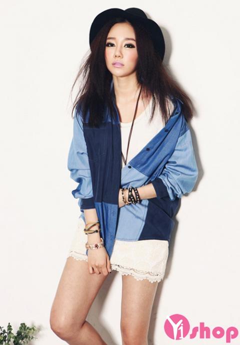 Áo sơ mi nữ denim Hàn Quốc đẹp trẻ trung phong cách - Hình 11
