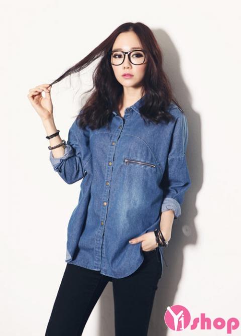 Áo sơ mi nữ denim Hàn Quốc đẹp trẻ trung phong cách - Hình 6
