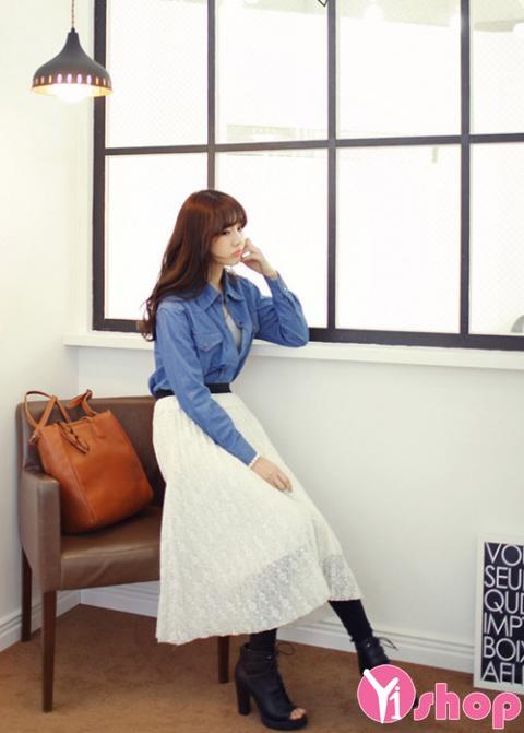 Áo sơ mi nữ denim Hàn Quốc đẹp trẻ trung phong cách - Hình 17