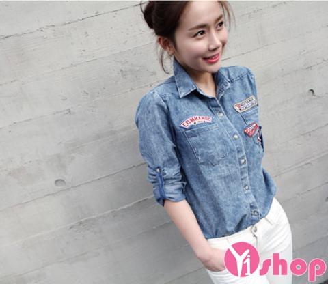 Áo sơ mi nữ denim Hàn Quốc đẹp trẻ trung phong cách - Hình 4