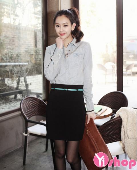 Áo sơ mi nữ denim Hàn Quốc đẹp trẻ trung phong cách - Hình 15