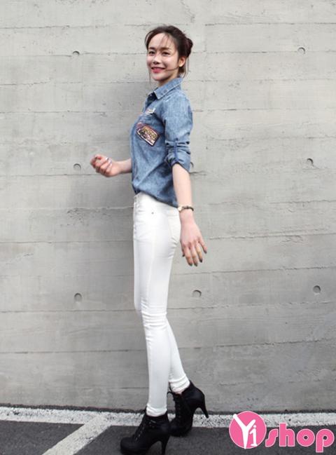 Áo sơ mi nữ denim Hàn Quốc đẹp trẻ trung phong cách - Hình 3