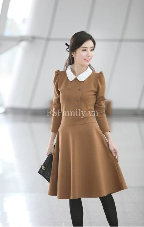 BST đầm dạ công sở đẹp phong cách thời trang Hàn Quốc mới nhất - Hình 7