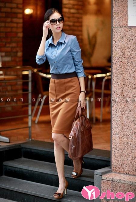 Chân váy đầm dạ dáng ngắn đẹp cho nàng thanh lịch - Hình 12