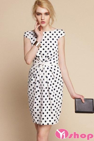 Váy đầm liền chấm bi xòe đẹp điệu đà nhí nhảnh xuống phố ngày - Hình 13
