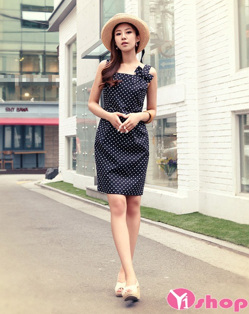 Váy đầm liền chấm bi xòe đẹp điệu đà nhí nhảnh xuống phố ngày - Hình 14