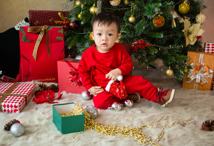 Dương Cẩm Lynh chụp ảnh Giáng sinh cùng con trai - Hình 6